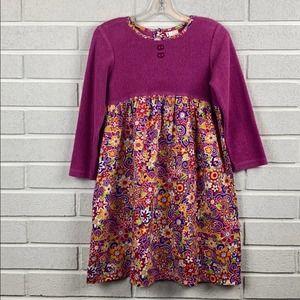 Hanna Andersson Girls Purple Print Dress Size 5